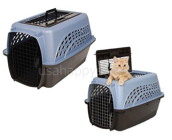 Small Dog Cat Pet Carrier 2 Door Carry Handle Crates Kennel Safety Portable Gift Cat Crate Pet Kennels Pet Carriers