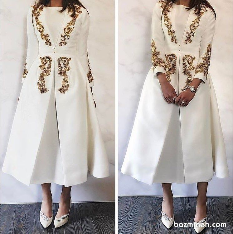 ea5a1316e5906 مانتو عقد بلند و شیک شیری رنگ با طرح های طلایی کار شده پیشنهادی شیک برای  عروس خانم ها