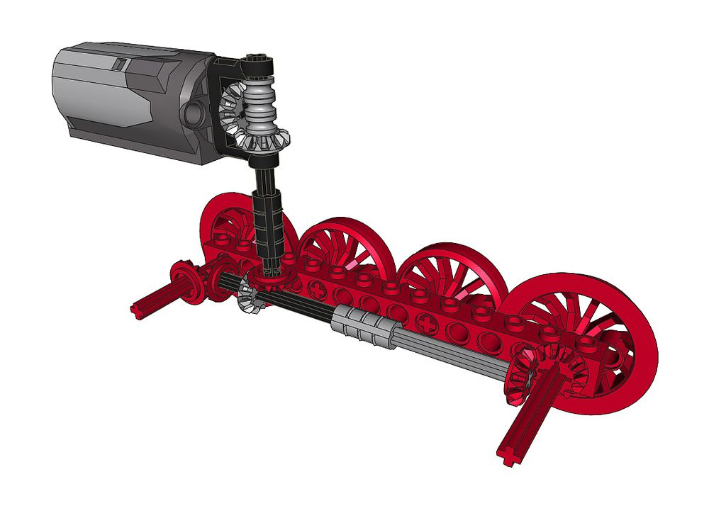 https://flic.kr/p/8SepV5 | BR65 Drivetrain | By request a peek inside the BR65. This shows the layout of the drivetrain. The motor sits in the front part of the boiler, the battery box fills the rest of the boiler. The blind drivers are on #2 axles and are only held in place by the connecting rods (omitted in this picture).