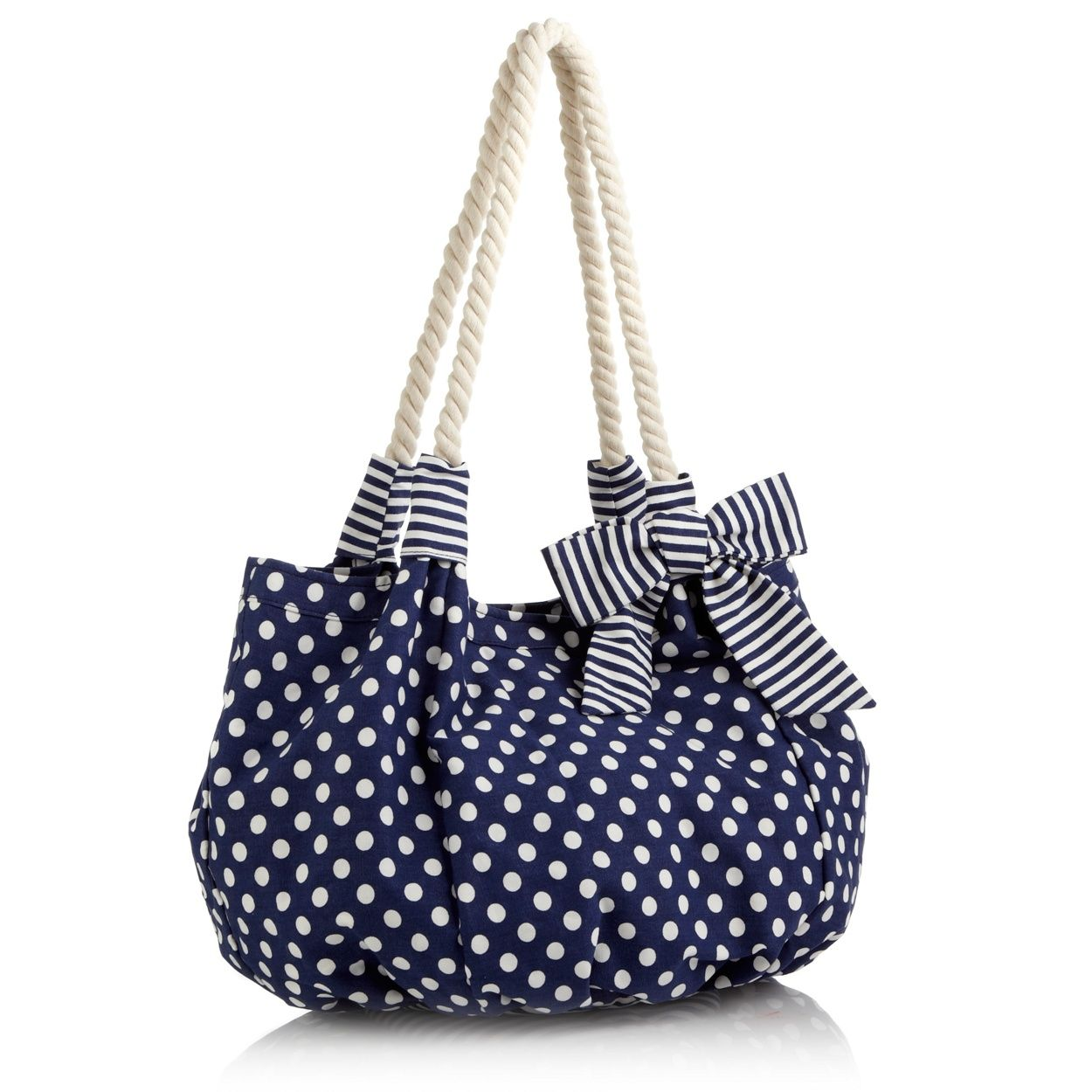 Beach Collection Navy Polka Dot Printed Beach Bag- at Debenhams ...