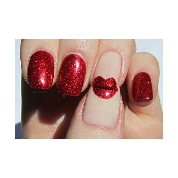 Ahh! A kiss manicure! | 26 Ridiculously Sweet Valentine\'s Day Nail ...