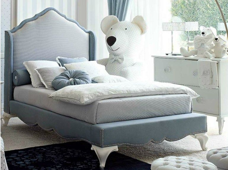 Upholstered bed with high headboard blanche collection by for Mobilia camerette