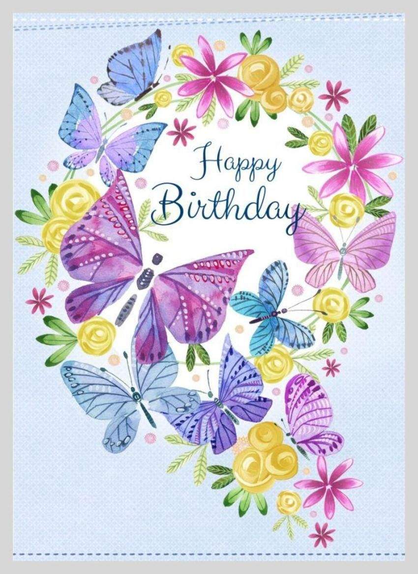 Butterfly Wreath COLOUR UP Happy birthday greetings