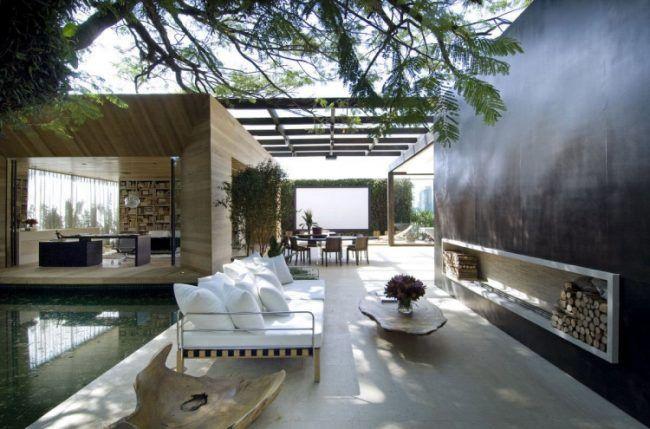 Wasserspiele Im Garten  Outdoor Lounge Modern Luxus Kamin Schatten