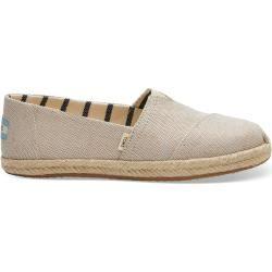 Toms Schuhe Beige Metallic Schimmernder Canvas Espadrilles Für Damen – Größe 35.5 TomsToms
