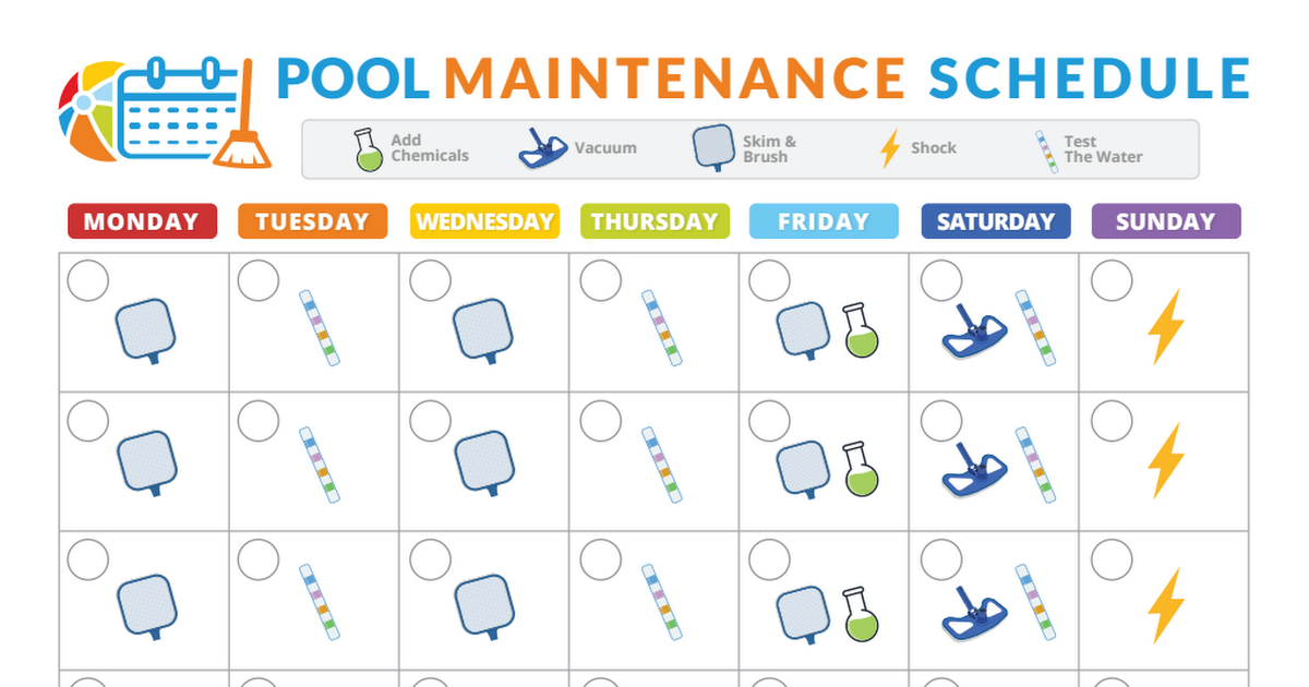 Pool Maintenance Schedule Pdf Swimming Pools In 2019