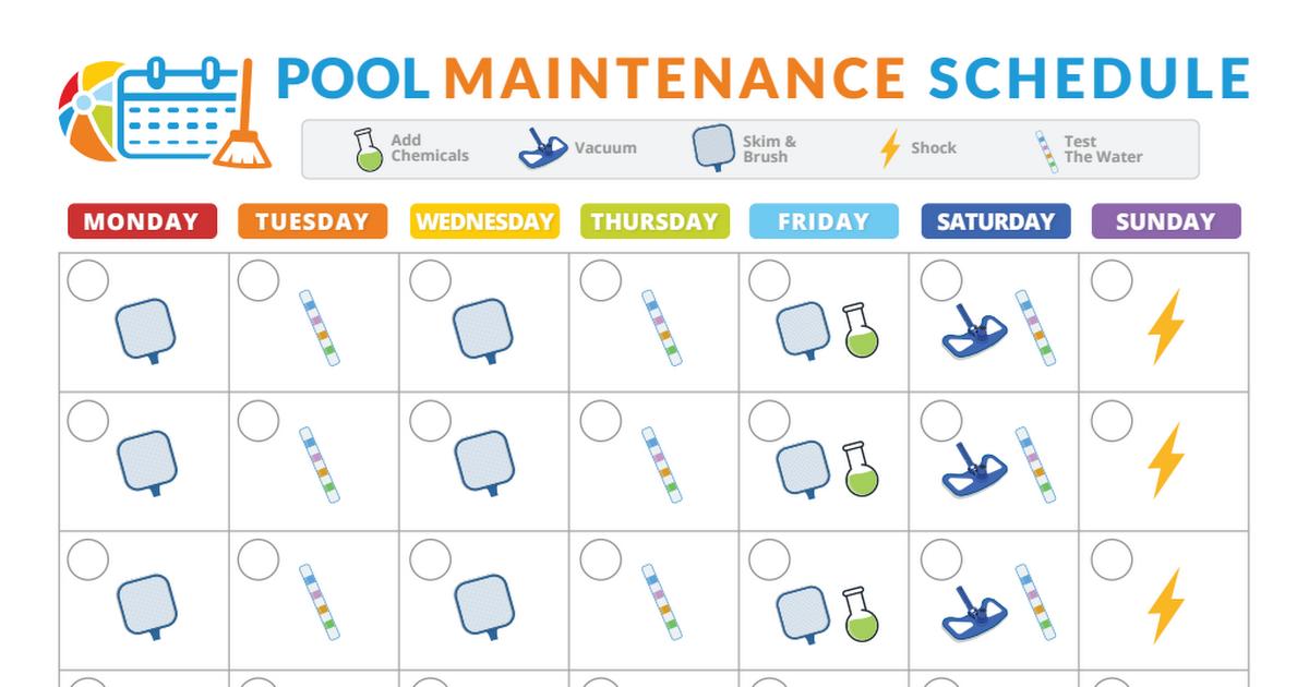 Pool Maintenance Schedule Pdf Pool Maintenance Pool Maintenance