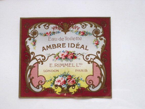 Antique E. Rimmel Ambre Ideal Perfume Etiquettes Labels C1880, 3 Framed Labels