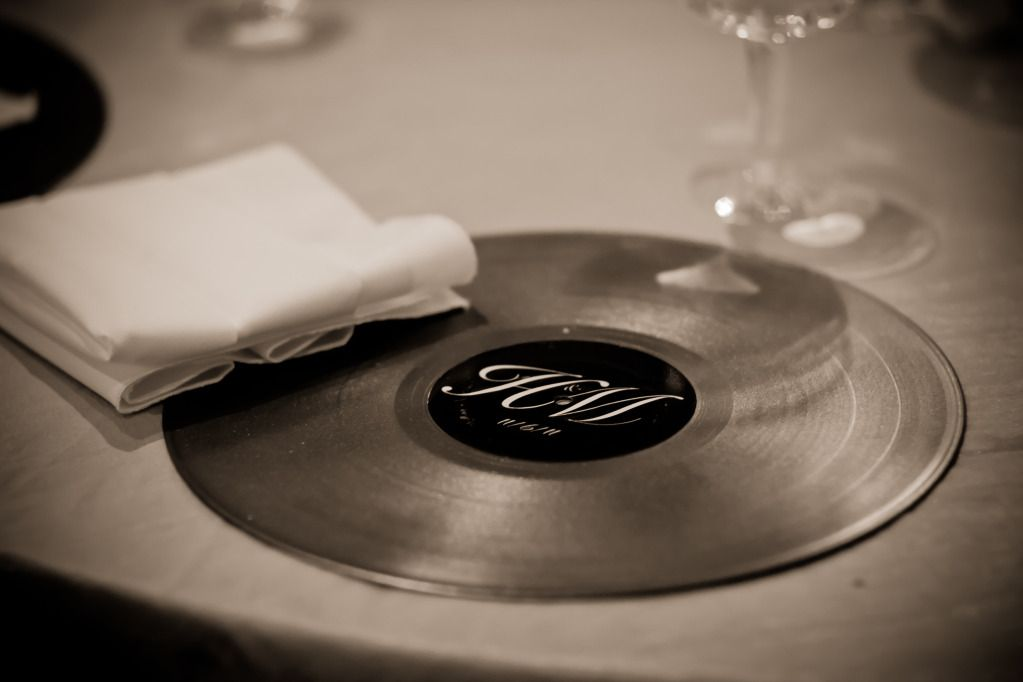 Diy Wedding Chargers Old Records Spray Painted A Bronze Gold To Match The Back Of The Chairs With Music Themed Wedding Rockabilly Wedding Love And Marriage