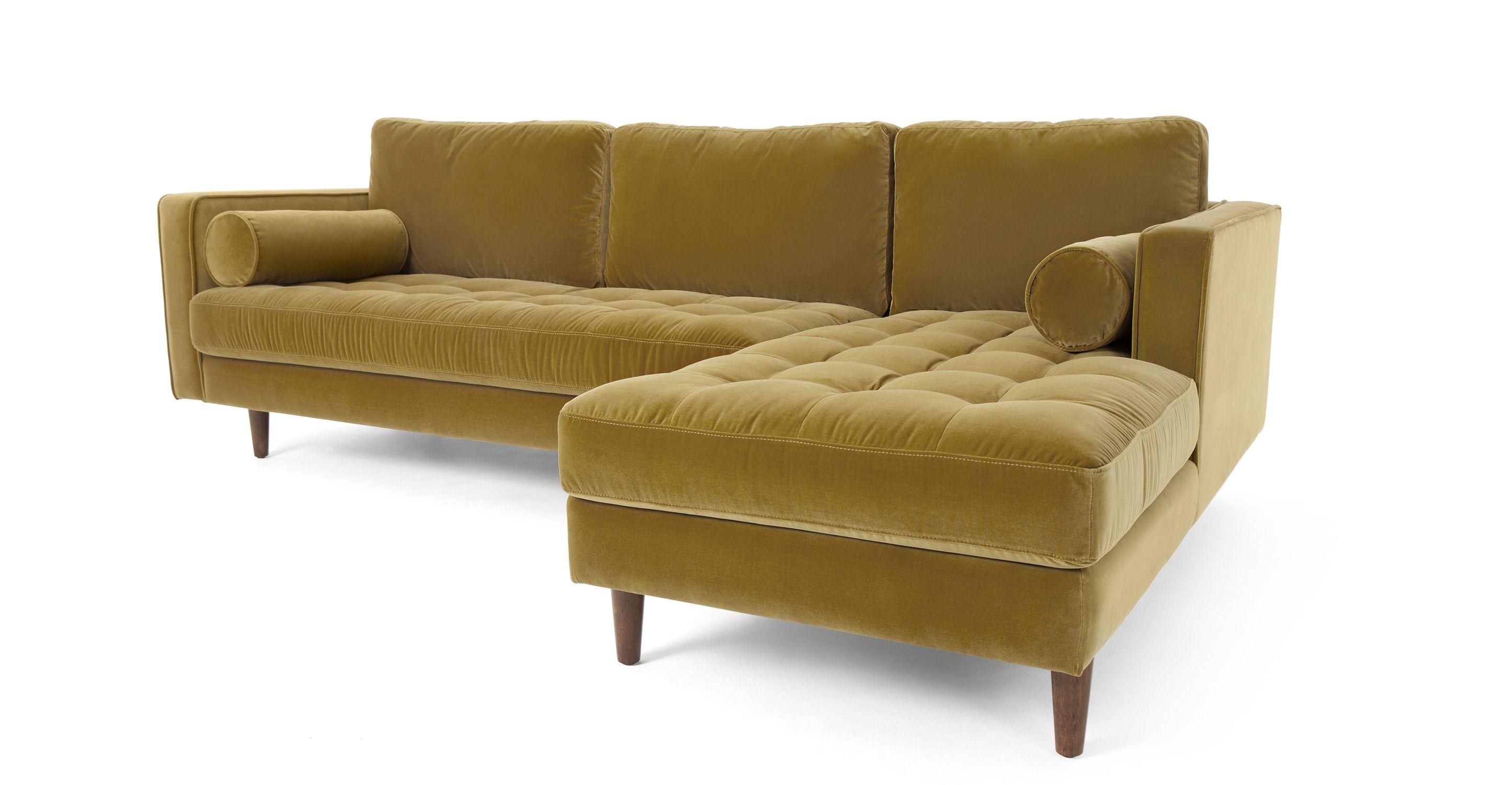 Sofa Wohnzimmer ~ Scott ecksofa récamiere rechts samt in gold made jetzt