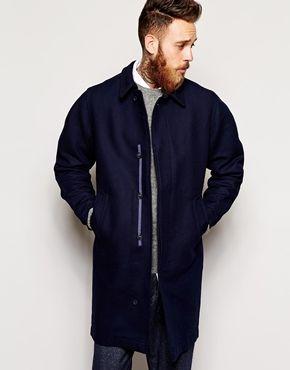 YMC Long Wool Overcoat in Double-Faced Fabric