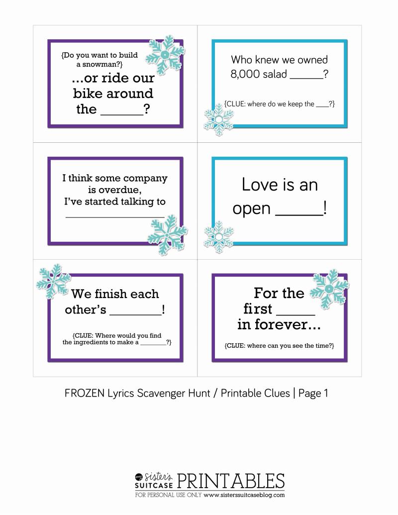 FROZENLyricsScavengerHuntClues.pdf Frozen scavenger