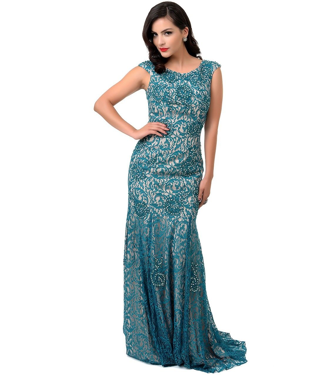 S style hunter green lace beaded mermaid evening gown vintage