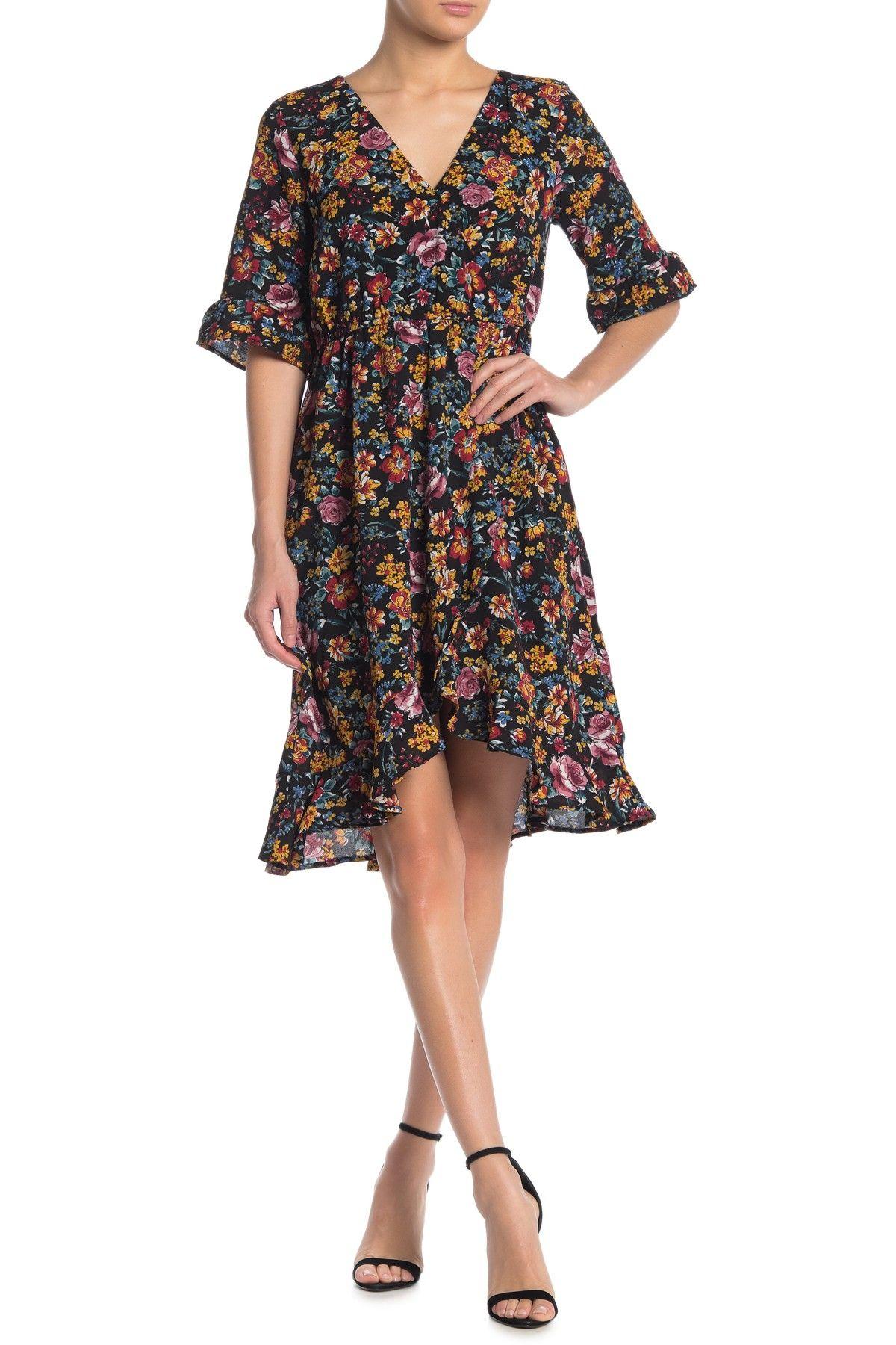 Bobeau Ruffle High Low Faux Wrap Dress Nordstrom Rack Wrap Dress Wrap Midi Dress Dresses [ 1800 x 1200 Pixel ]