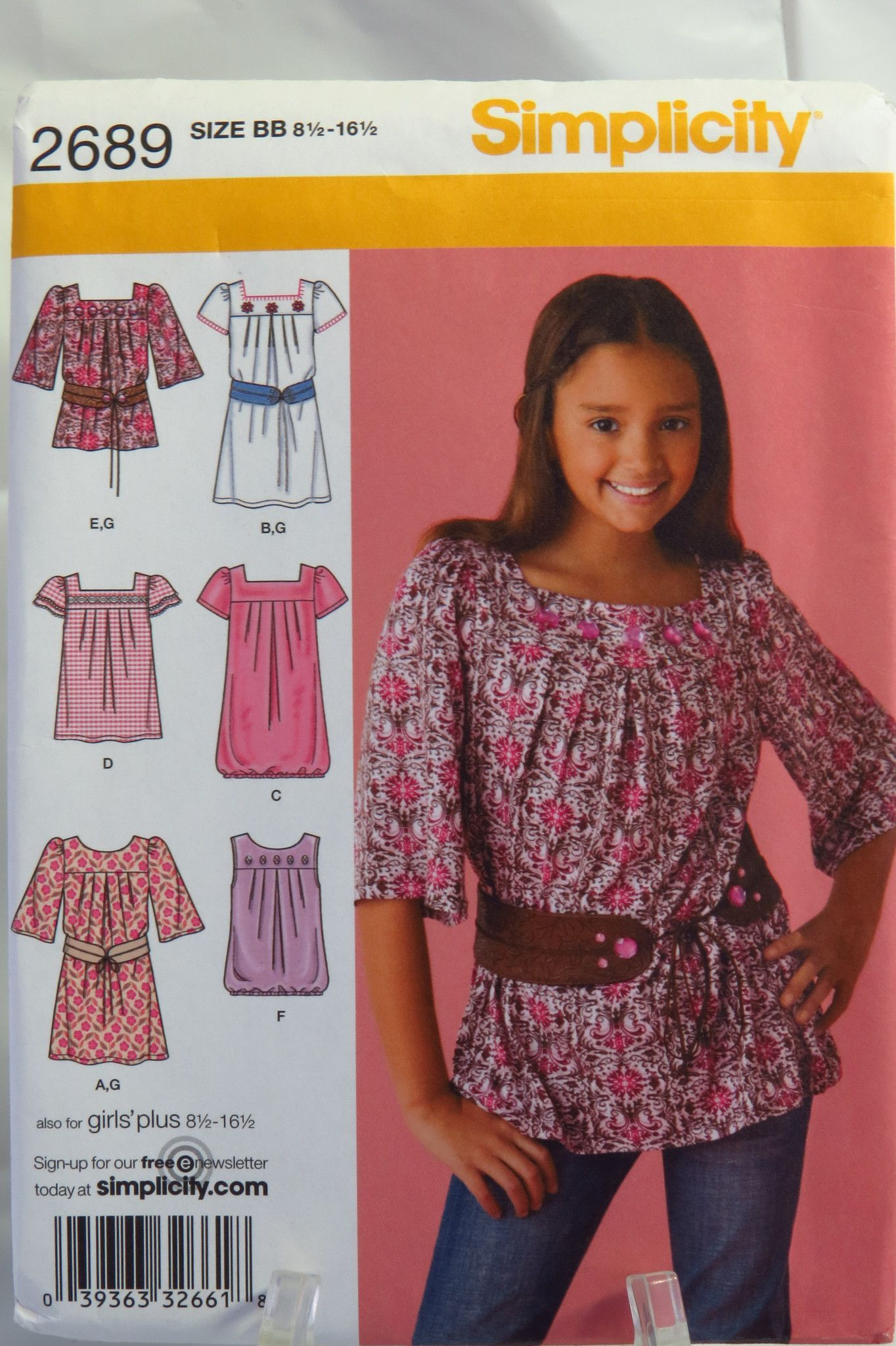 Simplicity 2689 Girls' and Girls' Plus Dress or Tunic and Belt