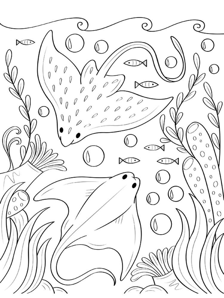 Stingray Coloring Pages Stingray Is A Fish That Has A Hard Boneless Body It Consists Of Cartilage Ocean Coloring Pages Coloring Pages Mermaid Coloring Pages