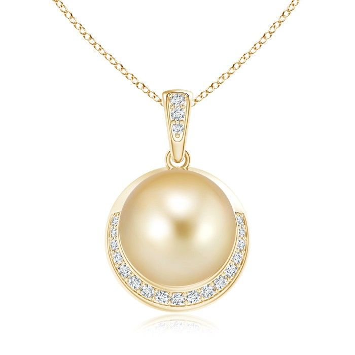Angara Golden South Sea Cultured Pearl Pendant with Diamond iw8EsttyB