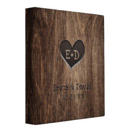 Monogram Wood Heart Rustic Wedding Al 3 Ring Binder Country Gifts Marriage Love S