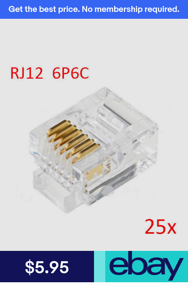 25pcs RJ12 6P6C Modular Plug Connector For RJ12 Telephone Cord