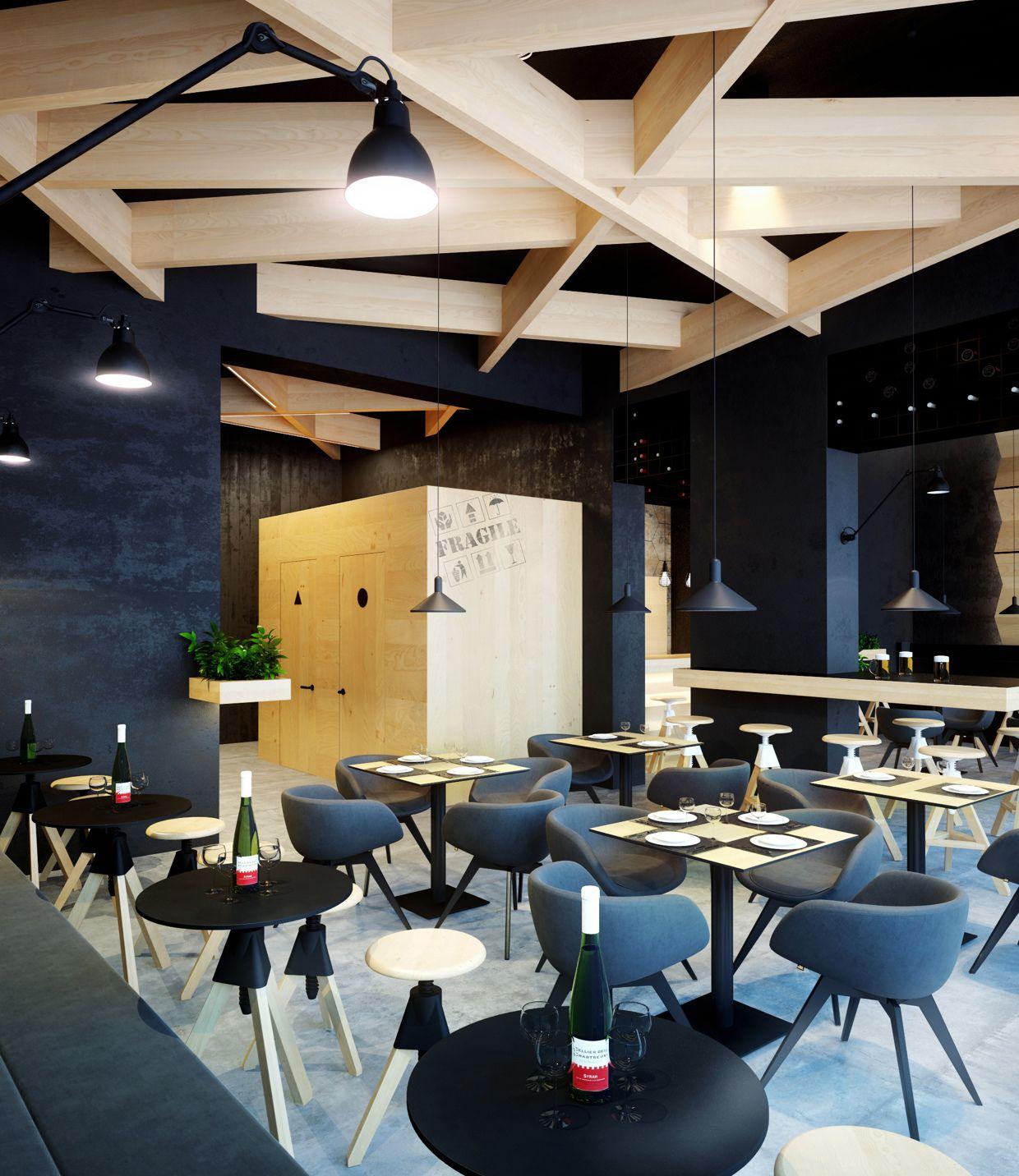 projet 3D design d\'interieur restaurant le bristol - vue C ...