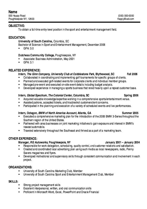 Example Of Entry Level Sport Resume  HttpExampleresumecvOrg