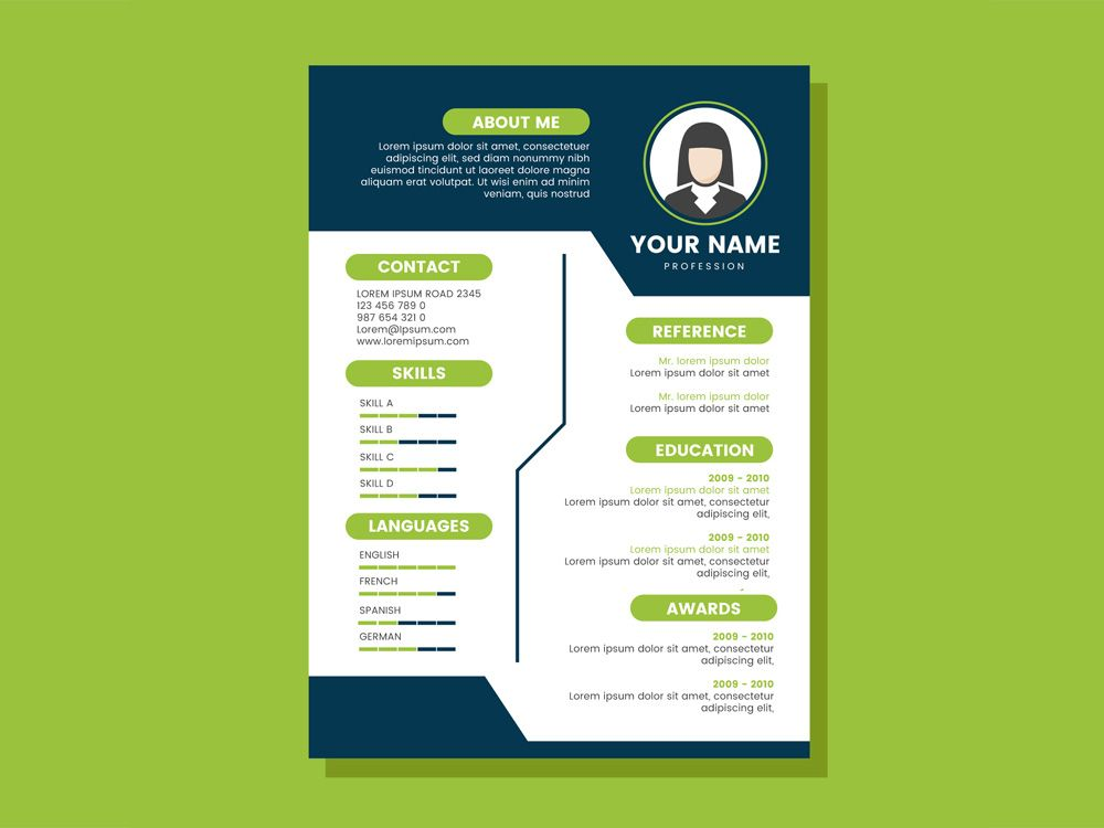 Free Cv Template With Blue And Green Colors Combination Cv Template Free Cv Template Resume Template Free