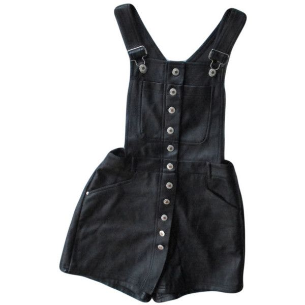 Black Pleather Overalls / 1990s Deadstock / Button up Romper / High... ($50) ❤ liked on Polyvore featuring dresses, shorts, bottoms, one piece, black skort, black golf skirt and golf skirts