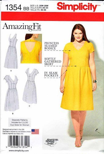 Simplicity Sewing Pattern 1354 Womens Plus Sizes 20w 28w Dress Back