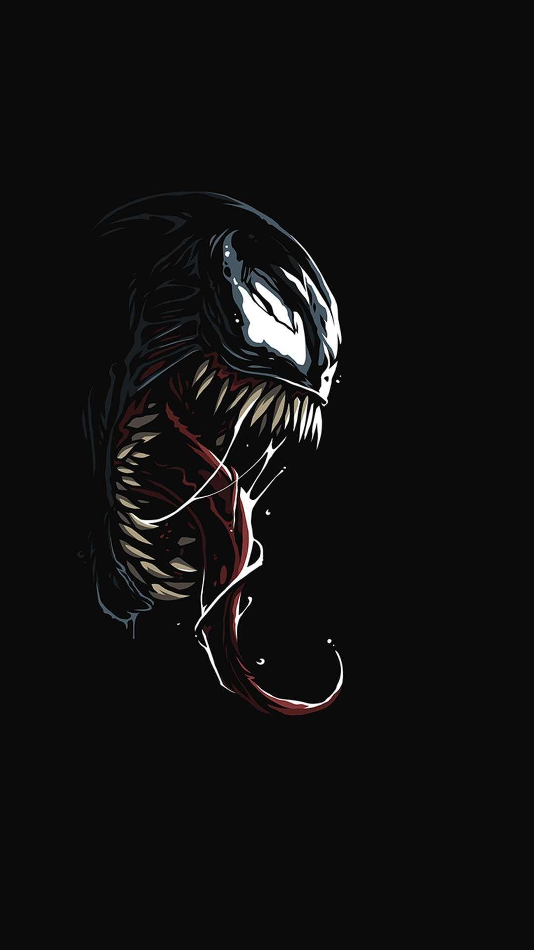 Venom Dark Black Minimal iPhone Wallpaper Marvel