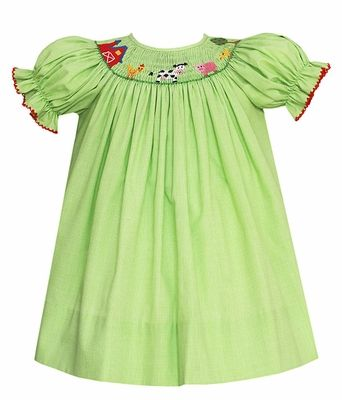 5520b82f2bc1 Petit Bebe by Anavini Baby / Toddler Girls Green Check Smocked Farm Animals  Bishop Dress