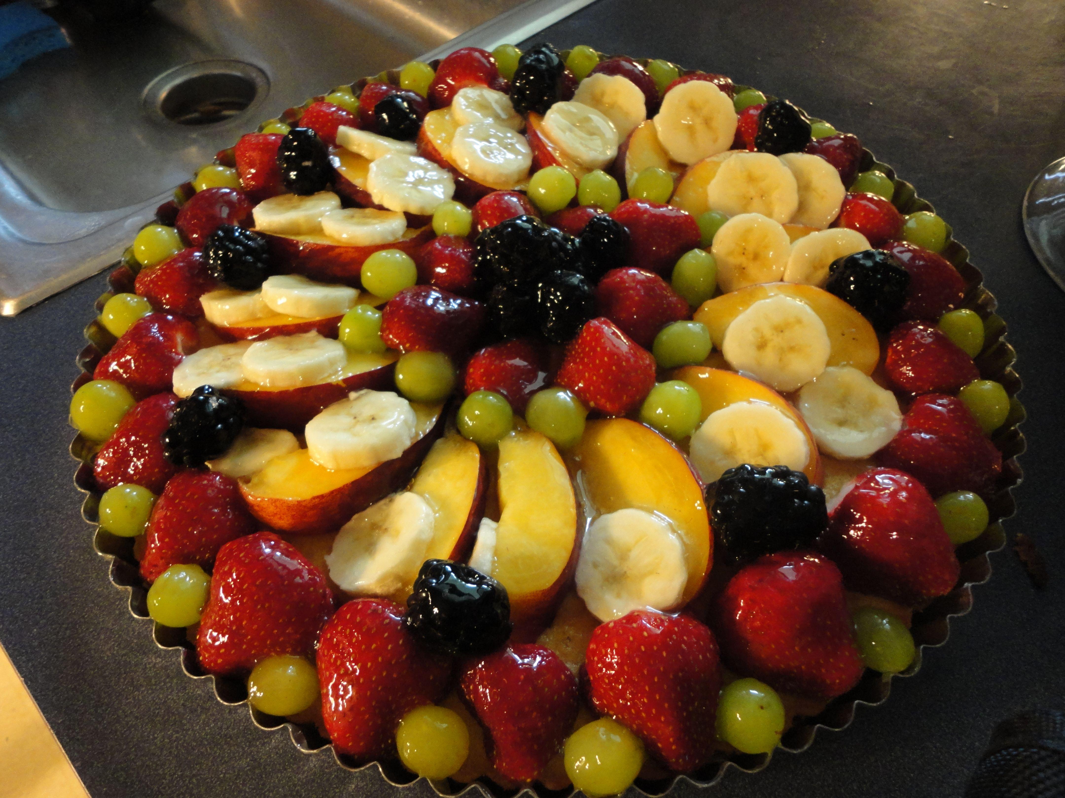 Jello Glaze Fruit Sponge Cake