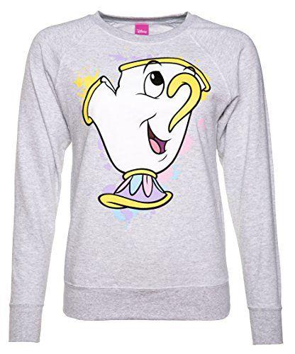 d04c0d1158 TruffleShuffle Womens Grey Marl Beauty And The Beast Disney Chip Splatter  Sweater