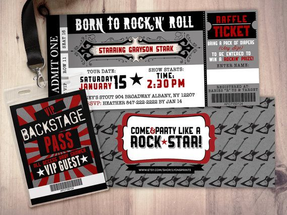ROCK STAR concert ticket baby shower by LyonsPrints on Etsy Baby - concert ticket birthday invitations