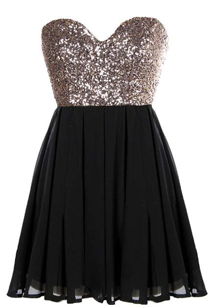 Glitter Fever Dress | Black Gold Sequin Party Dresses | Rickety ...