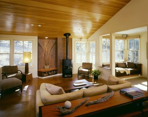wood storage and floor, House in Santa Lucia Preserve - contemporary - living room - san francisco - Cathy Schwabe Architecture