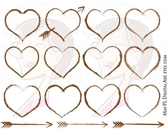 Rustic Heart Frames Wedding Clip Art Designs Brown Border Carved Instant Download Digital Scrapbook Label Tags