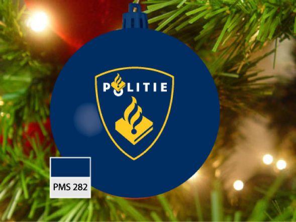 Kerstbal blauw, pms 282 met logo Politie in 2 kleuren