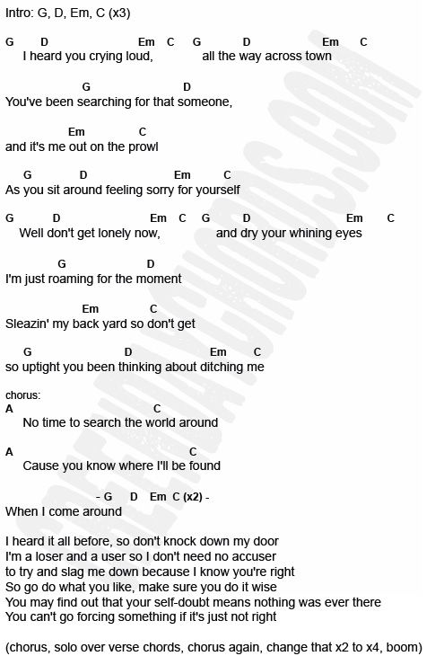 When I Come Around by Green Day chords and lyrics | Guitar chords ...