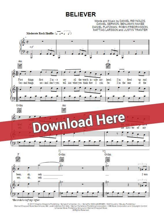 Imagine Dragons Believer Sheet Music Piano Notes Chords Imagine Dragons Sheet Music Notes Believer Imagine Dragons