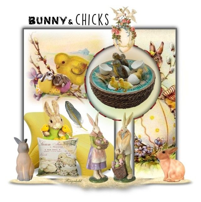 """Bunnies & Chicks for the Easter Home"" by ragnh-mjos ❤ liked on Polyvore featuring interior, interiors, interior design, home, home decor, interior decorating, Dot & Bo and All the Rages"
