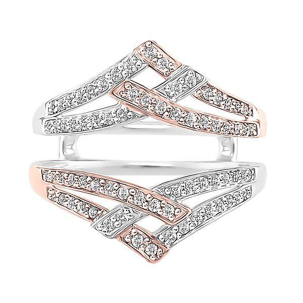 3 8 Ct Tw Diamond Chevron Ring Enhancer In 14k White Rose Gold