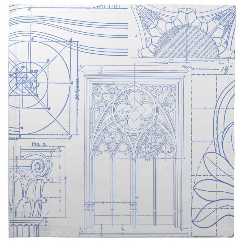 Architectural Blueprints Napkin | Zazzle.com