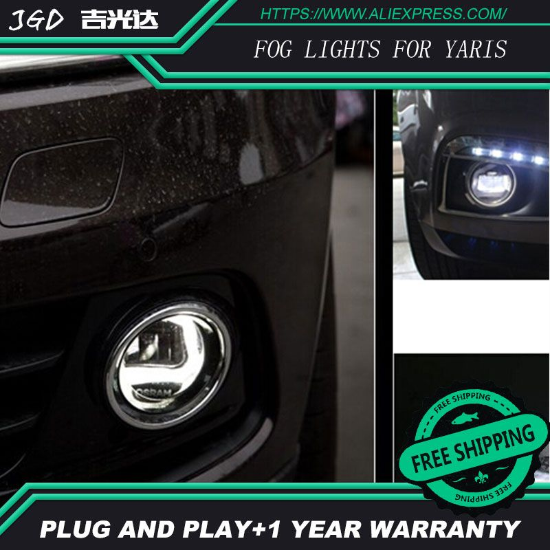 For Toyota Yaris 2014 2015 Lr2 Car Styling Front Bumper Led Fog Lights High Brightness Fog Lamps 1set Led Fog Lights Car Lights Toyota Auris