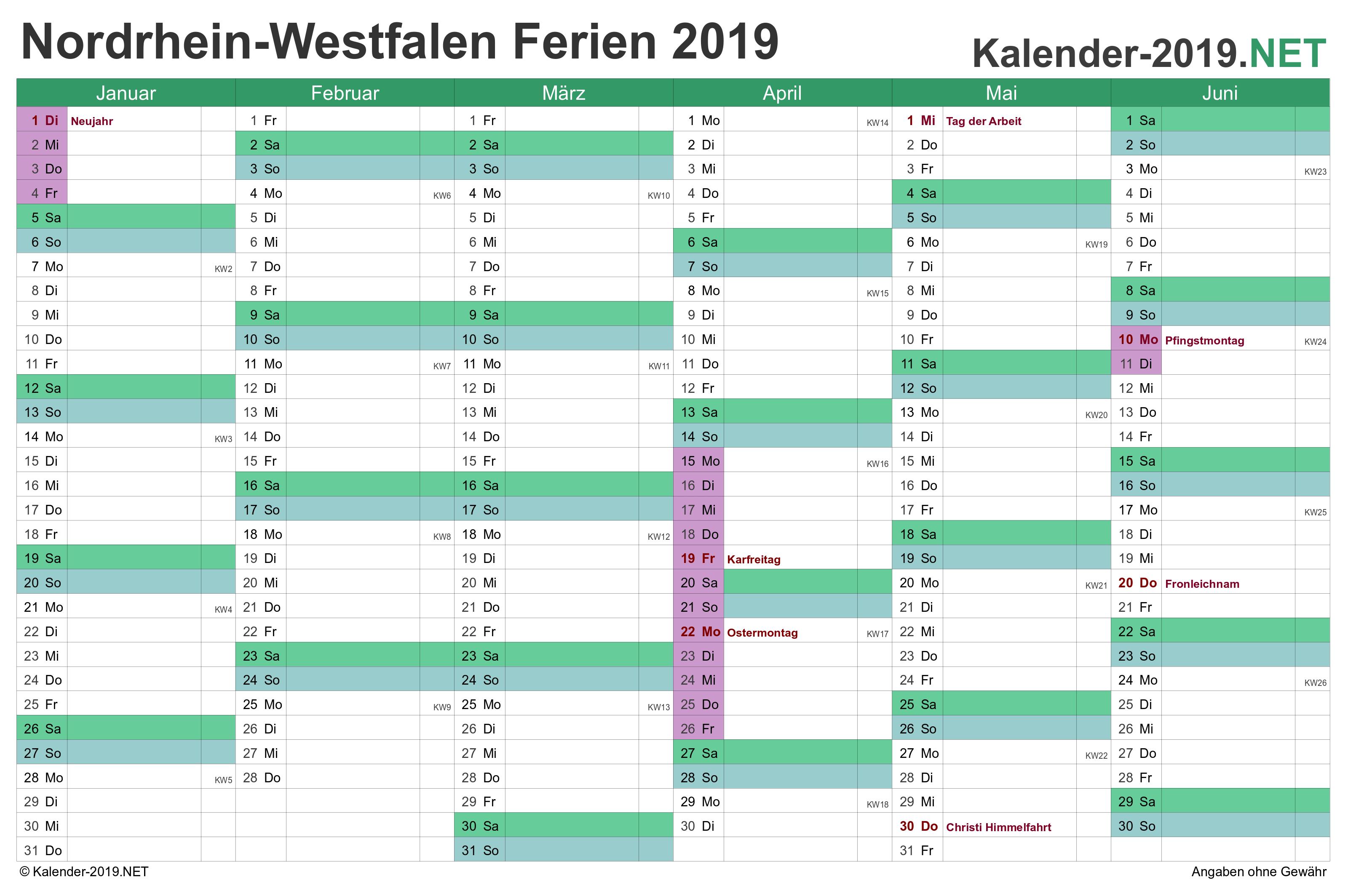 Nordrhein Westfalen Kalender 2019 Mit Ferien Kalender 2018