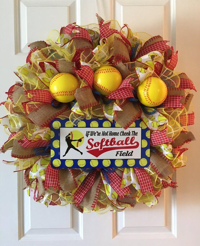 Softball wreath summer wreath sports wreath front door softball wreath for door softball front door wreath If we don/'t answer wreath