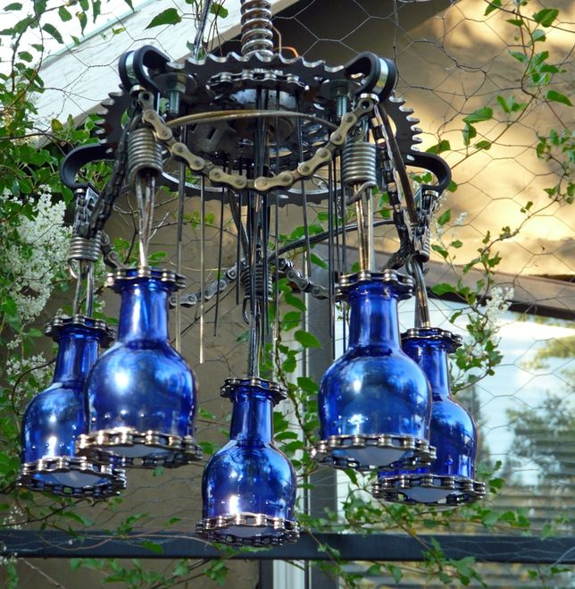 How to build your own cyclepunk chandelier from bike parts and trash a beer bottle chandelier would be awesome gift for someone well funny at aloadofball Choice Image