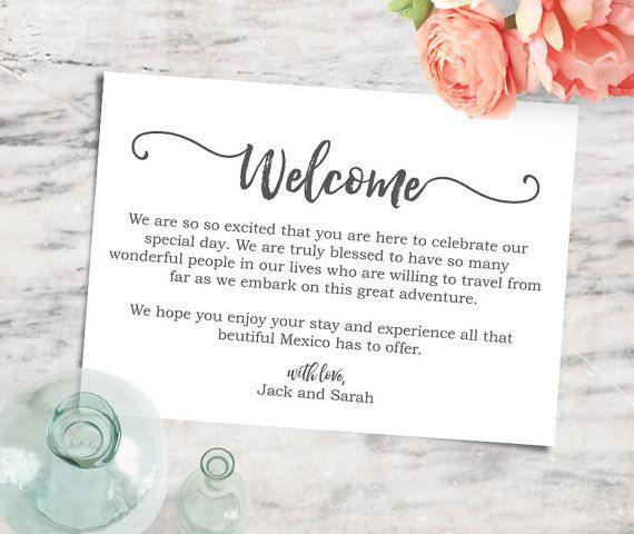 Printable Editable 5x7 Welcome Note, Destination Wedding Welcome
