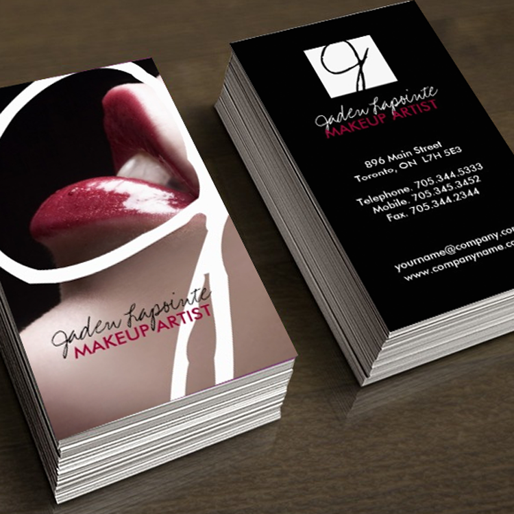 Trendy makeup artist business cards business cards business and fully customizable cosmetics business cards created by colourful designs inc colourmoves