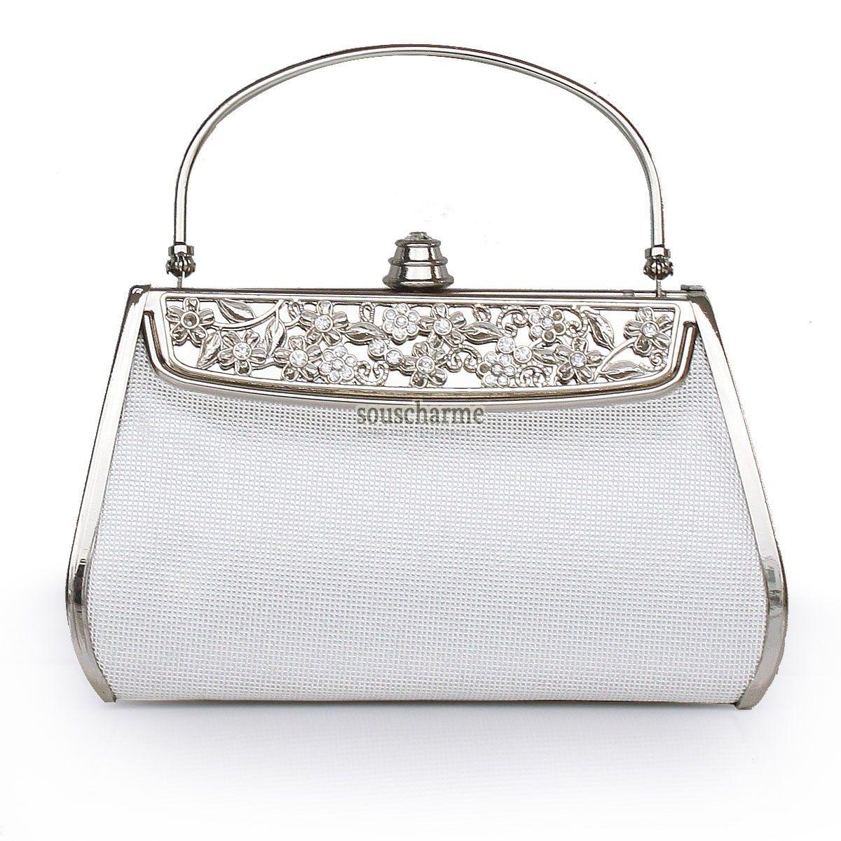 5b0842ac08 Pochette soirée classique métal couleur argent avec poignet sac à main  femme pas cher
