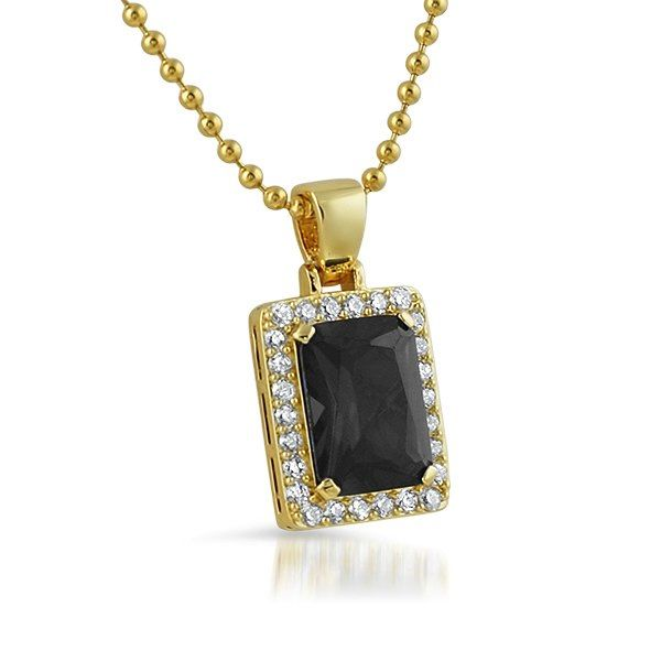 The New Style Of Popular Rick Ross Pendant Features A Lab Created Black Diamond Stone Set In Center Surrounded By Small Micro Pave Simulated
